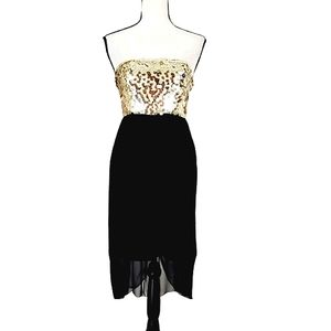 ALICE + OLIVIA  SILK AND  SEQUIN STRAPLESS DRESS
